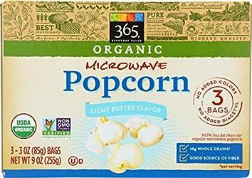 365 Everyday Value, Organic Microwave Popcorn, Light Butter Flavor, 3 oz, 3 pack