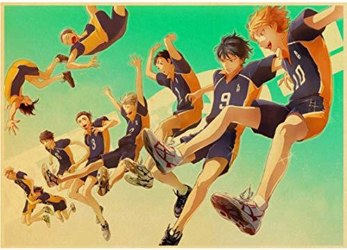 ZHANGKEKE Póster De Haikyuu De Dibujos Animados Japoneses, Póster Sin Marco De Lona 50 * 70 Cm, Impresiones De Pintura Artística para Niño De Voleibol, Decoración De Habitación