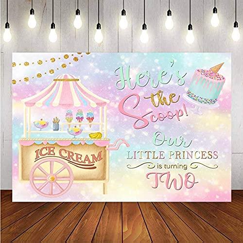 Fotografie Achtergrond Kleine Prinses Baby Ijs Cake Decor Verjaardagsfeestje Fotobel Achtergrond Fotostudio A1 10x10ft/3x3m