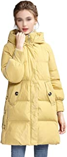 ZYDP Women Loose Fit Long-Sleeved Hooded Warm Down Jacket Long Coat for Winter (Color : Yellow, Size : XL)