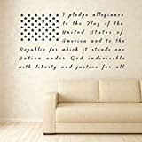 Large American Flag Wall Art Patriotic Vinyl Decal with Pledge of Allegiance Lettering for Living Room or Bedroom, Office, or Classroom - Available in Red, White, Blue, Other Bright Colors