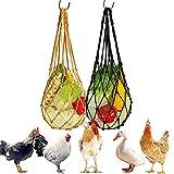Locopeas 2pcs Comedero Colgante Bolsa para Gallinas Gallos Pollos Pájaros,Patos ,Ganso,Conejo Bolsa de Malla de Verduras y Frutas