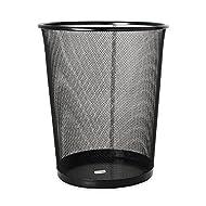 """Ybmhome 1102 Wastebasket, Waste Bin, Round, Steel Mesh, 10"""" L x 10"""" W x 11"""" H, Black"""