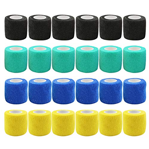 Tattoo Grip Tape Cover - Romlon 24pcs Disposable Cohesive Tattoo Grip Cover Wrap Self Bandage Roll Elastic Handle Grip Tape for Tattoo Machine Tattoo Grip Accessories, Sports Tape Cover Mix Color
