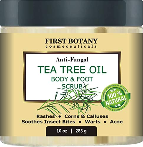 100% Natural Anti Fungal Tea Tree Oil Body & Foot Scrub with Dead Sea Salt - Best for Acne, Dandruff and Warts, Helps with Corns, Calluses, Athlete foot, Jock Itch & Body Odor