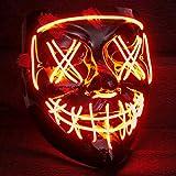 máscara LED de Purga con Tres Modos de Flash - Ideal como un DJ Tecno | de Halloween | Carnaval | Carnival como complemento de Horror de Vestuario (Naranja)