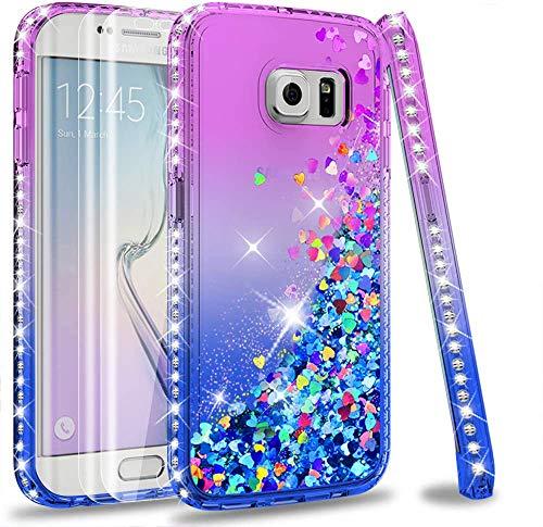 LeYi Hülle Galaxy S6 Edge Glitzer Handyhülle mit Full Cover 3D PET Schutzfolie(2 Stück),Diamond Rhinestone Bumper Schutzhülle für Case Samsung Galaxy S6 Edge Handy Hüllen ZX Gradient Purple Blue