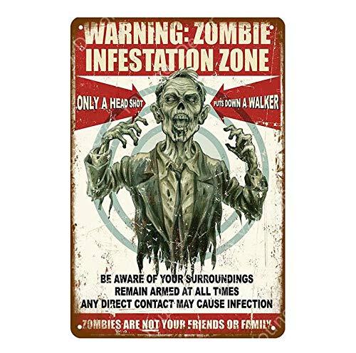 shovv Blechschild Warnung Zombie Ahead Platte Gefahr fernhalten Blechschild Vintage Poster Wandkunst Malerei Plaque Bar Pub Club Home Decor