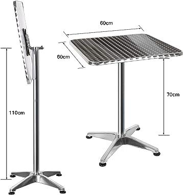 Vendeur pro Table de Bar Table de Cuisine en Acier Inoxydable et Alu, Table Haute Carrée, Réglable en Hauteur 70 ou 110 cm, T