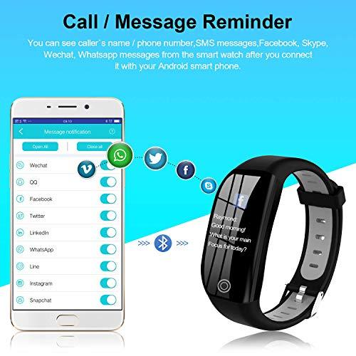 Tipmant Fitness Armband mit Pulsmesser Blutdruckmessung Smartwatch Fitness Tracker Wasserdicht IP68 Fitness Uhr Schrittzähler Pulsuhr Sportuhr für Damen Herren Kinder ios iPhone Android Handy Schwarz - 4