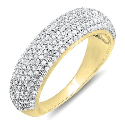 Dazzlingrock Collection 0.90 Carat (ctw) 18k Round Diamond Anniversary Wedding Band Ring, Yellow Gold, Size 6.5