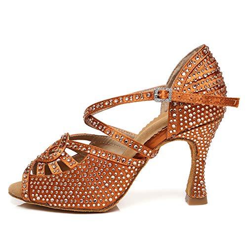 HROYL Zapatos de Baile Latino Mujer Salsa y Bachata Zapatos de Baile de Salon,YCL466-Marrón -8.5,EU38