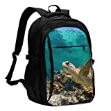 asfg Resistente a Las Manchas Sea Turtles Multifunctional Personalized Customized USB Backpack, Student School Outdoor Backpack,Travel Bag Laptop Bookbags Business Daypack.