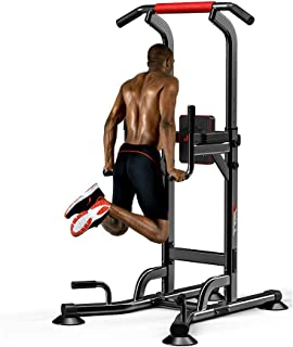 JEMPET Dip Stand Power Tower-Pull Up Home Gym Height Adjustable Multi-Function Fitness Strength Training Equipment Exercis...