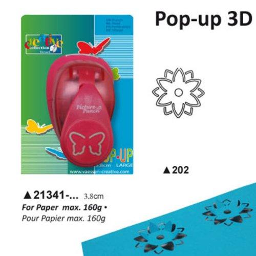 Vaessen Creative Pop Up motiefpons, bloem met 3D-effect, groot, motiefperforator van metaal en plastic, om te knutselen met papier en scrapbooking