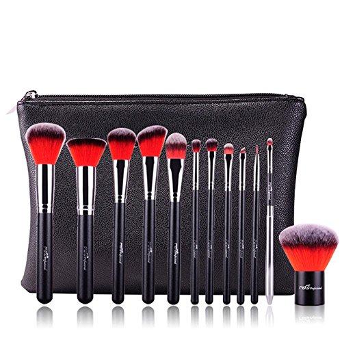 MSQ 12pcs pinceau de maquillage de haute qualité pinceau de maquillage synthétique en aluminium Tube maquillage Set outils de maquillage (vert), Rouge