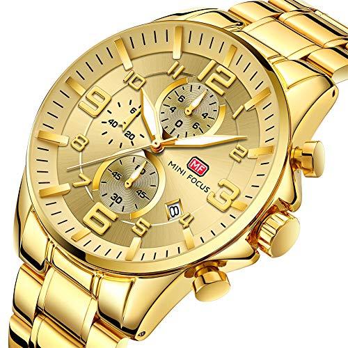 MINIFOCUS Moda de Oro para Hombre Relojes de primeras Marcas Reloj de Cuarzo Cronógrafo Reloj de Pulsera Calendario Impermeable,Gold