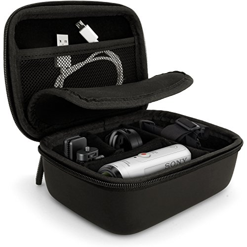 iGadgitz Black EVA Carrying Hard Travel Case Cover with Carry Handle for Sony Action Cameras