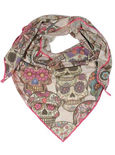 Zwillingsherz Dreieckstuch für Damen mit Kaschmir/Cashmere und Totenkopf Muster/Modischer All-Rounder als Alternative zu einem Strickwaren/Pulli/Strick-Pullover (bunt_pink)