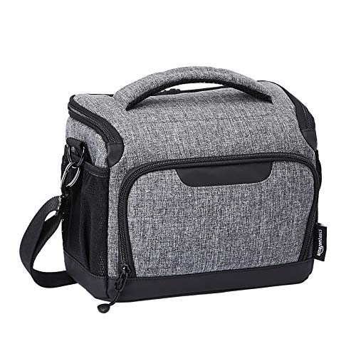 AmazonBasics Compact Camera Shoulder Bag for SLR/DSLR with Waterproof Rain Cover - 10 x 9 x 4 Inches (Gray)