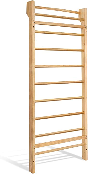 Scala svedese in legno spalliera per palestra ginnastica da parete carico 100 kg, 195 x 80 x 14 cm B08DKBBHX2