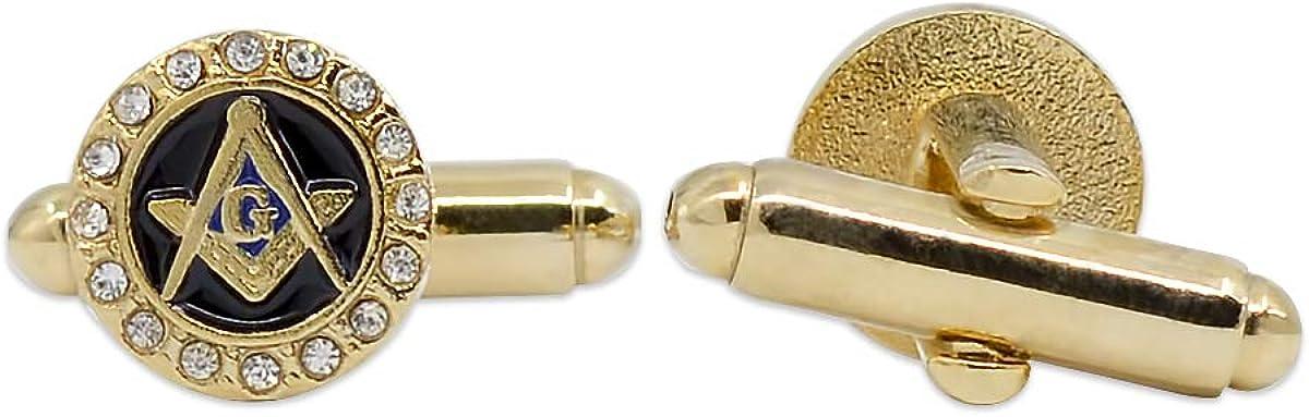 Square & Compass with Rhinestones Masonic Cuff Link Pair - [Gold & Black][3/8'' Diameter]