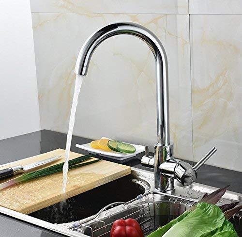 Tik op Kookgerei voor thuis koken, Mixing Tap Drie Keukenkranen in Pure Water Tap met Chroom Sleutel