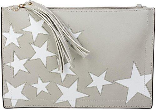 styleBREAKER pochette con motivo a stella, ciondolo con nappa sulla cerniera, cinturino per mano e tracolla, da donna 02012075, colore:Grigio chiaro