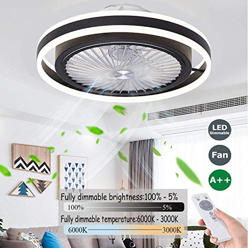 Ventilador De Techo Con Luz Y Mando Velocidad Del Viento Ajustable LED Regulable Ventilador De Techo Infantil Infantil Habitación 40W Silencioso Ventilador De Techo Con Luz Inspire,50cm (black)