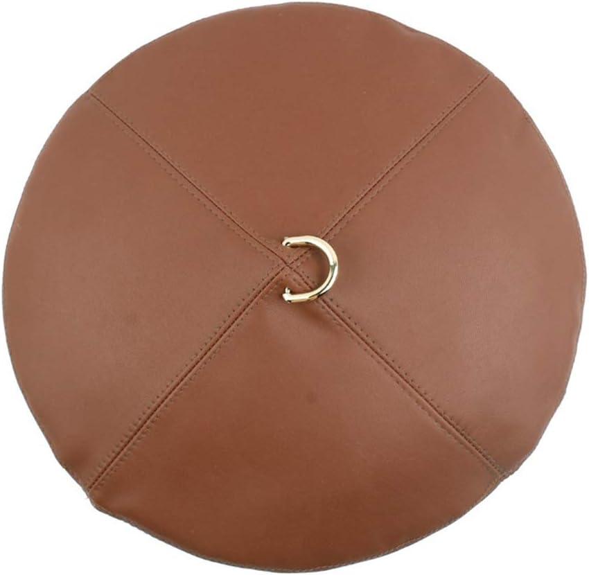 Hat Mens Ladies Vintage Beret PU Leather Metal Ring Accessories (Color : Brown)