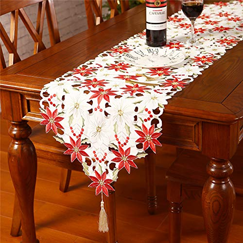 Sattiyrch Christmas Embroidered Table Runner, Luxury Poinsettia and Holly Table Runner for Xmas Decorations,15x69 Inch (White)