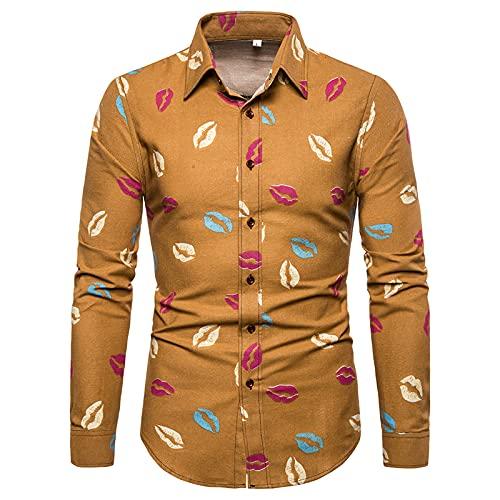 Ocuhiger Camisas Casuales De Moda para Hombres Camisa De Manga Larga con Cuello Vuelto Camisa Ajustada con Botones Blusa Estampado Digital A Rayas para Hombres Amarillo