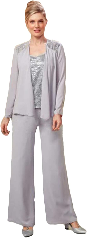 Xixi House Mother of The Bride Pantsuit Sequins Top Chiffon Trouser Set 2021 Wedding Guest Outfits