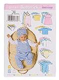 Butterick Schnittmuster B5585'Babyausstattung' Strampler Bodies Mützen Kleidchen 0-6 Monate