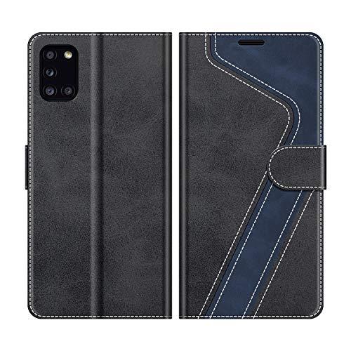 MOBESV Handyhülle für Samsung Galaxy A31 Hülle Leder, Samsung Galaxy A31 Klapphülle Handytasche Hülle für Samsung Galaxy A31 Handy Hüllen, Modisch Schwarz