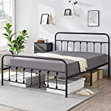 YAHEETECH Classic Metal Platform Bed Frame Mattress Foundation with Victorian Style Iron-Art Headboard/Footboard/Under Bed Storage No Box Spring Needed for Boys Girls Queen Size