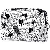 コスメティックバッグレディースウォータープルーフメイクアップバッグコスメティックチェンジキーなどを運ぶ旅行用白黒かわいい猫