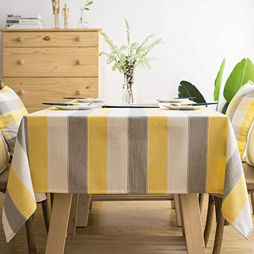 Carvapet Tovaglia Rettangolare Antimacchia Tovaglia Cotone Lino Tovaglie Tavolo Rettangolare per Cucina Cenare Ristorante (Tricolore Striscia, 140x200CM)