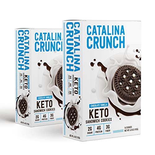 Catalina Crunch Keto Sandwich Cookies (2-Pack): Keto Cookies, Keto Snacks, Low Carb Snacks with Plant Protein and Prebiotic Fiber