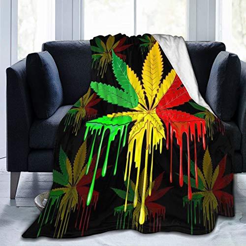FENTINAYA Hoja de Marihuana Rasta Colores Franela Polar Mantas de Cama de guardería para Cama sofá sofá Sala de Estar Picnic 80X60in