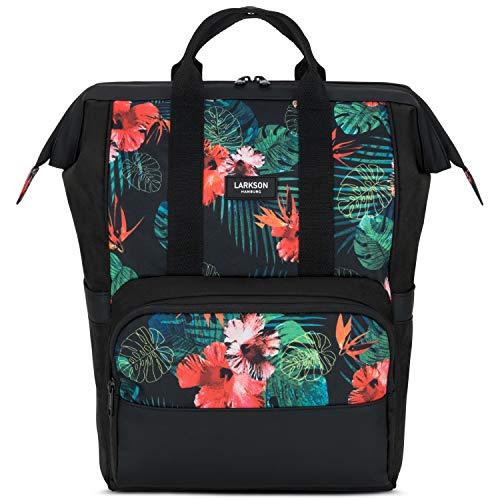 LARKSON Backpack for Women & Men Flowers No 5, Rucksack for School, University, Work, Laptop Compartment 15.6 Inch, Wide Opening, Water-Repellent