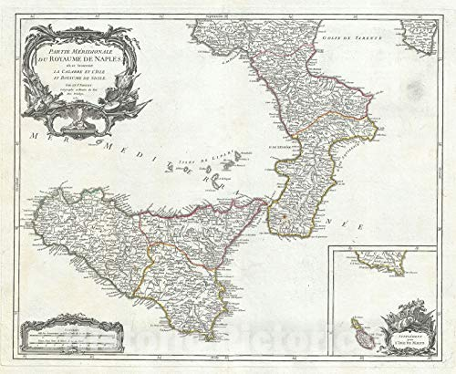 Historic Map : Southern Naples and Sicily, Italy, Vaugondy, 1750, Vintage Wall Décor : 30in x 24in