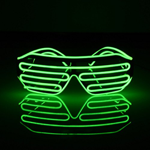 LEDMOMO Blinkende LED-Show-Spielzeug-Gläser leuchten Slotted Shutter Sonnenbrillen Shades Party Favors (grün)