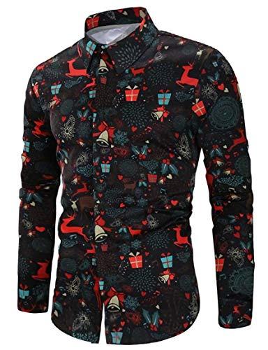 RAISEVERN Camisas de Hip Hop de Manga Larga para Fiesta de Navidad para Hombre Camisa de Vestir Negra Estampada de Navidad con muñeco de Nieve con Estampado de Santa
