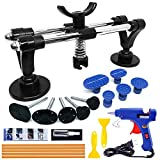 Manelord Auto Body Repair Tool Kit, Car Dent Puller with Double Pole Bridge Dent Puller, Glue Puller Tabs, Glue Shovel for Auto Dent Removal, Minor dents, Door Dings and Hail Damage (with Glue Set)