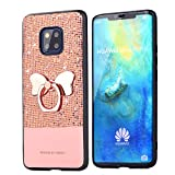 Tifightgo Huawei P20 Lite Case with Stand,Rose Gold Bling Shiny Rhinestone Soft TPU Silicone Case Protection Cover Bumper Case for Huawei P20 Lite with Bow Ring Bracket