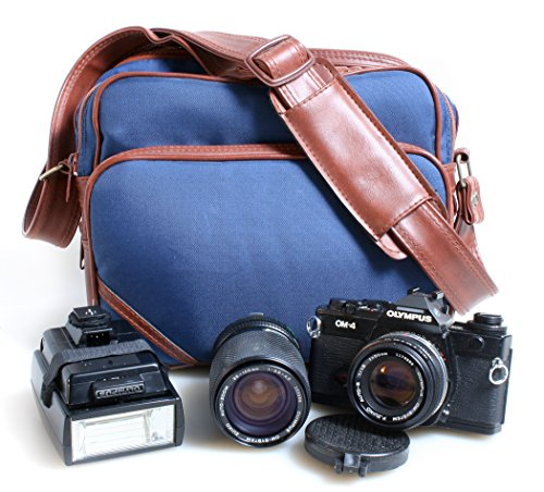 OLYMPUS OM-4 STUDENT SLR CAMERA WITH TWO LENSES , FLASH AND CASE