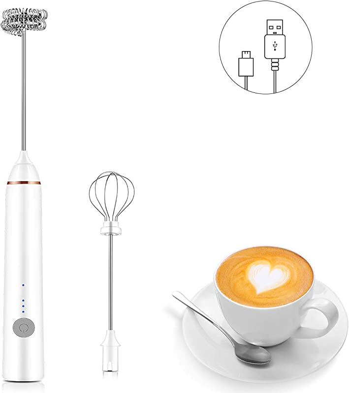 CUSIBOX Handheld Milk Frother Whisk With Rechargeable Battery And 3 Whisking Speeds For Coffee Latte Cappuccino Hot Chocolate