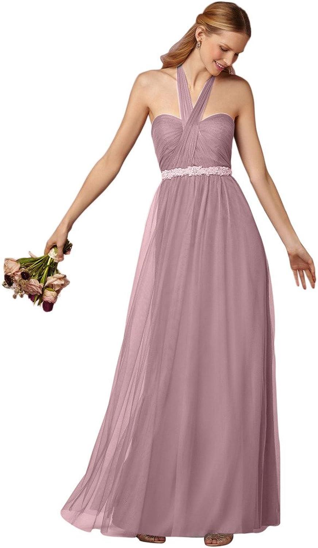 JoyVany Halter Long Bridesmaid Dresses Wedding Dress Prom Dress with Beaded Belt