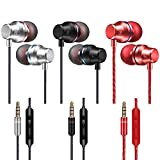 3 Packs in-Ear Earphone,DanziX Earphone with Mic and Volume Control, Balanced Bass Driven Sound, Noise Isolating, Stereo for All 3.5mm Interface Device